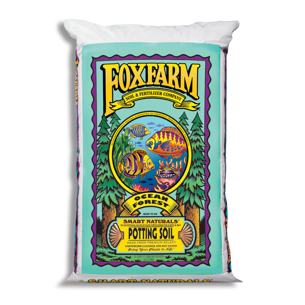 1.5 cubic feet of FoxFarm Ocean Forest Potting Soil in its packaging