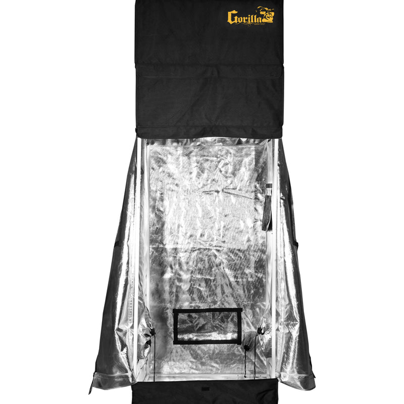The gorilla grow tent with the door flaps fully opened