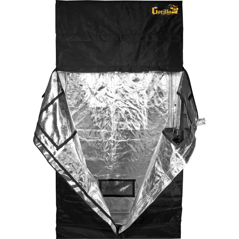 two foot by four foot gorilla grow tent with its door flaps opened