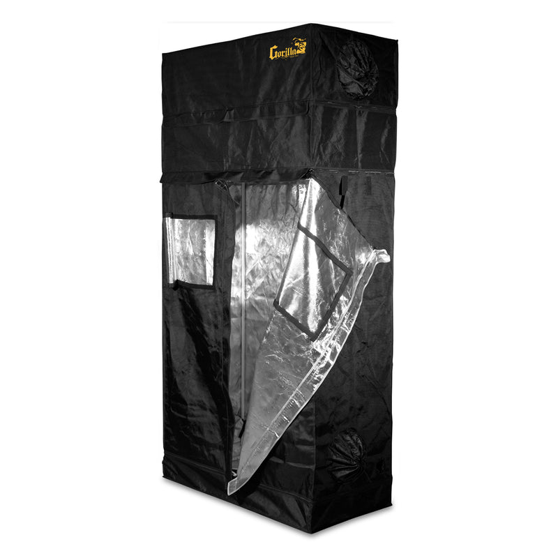 The gorilla grow tent with one door flap opened