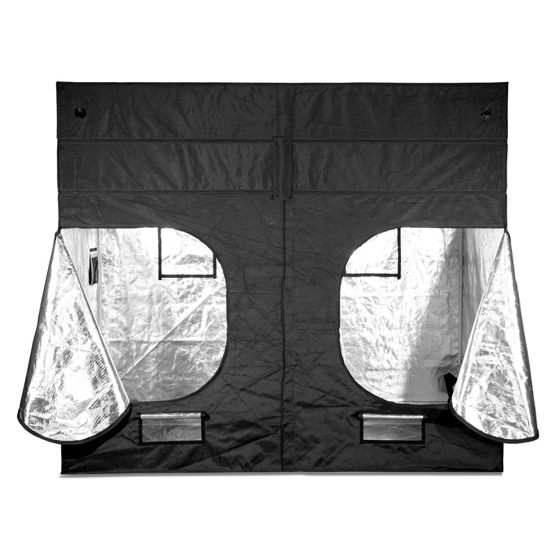 The back of the five by nine gorilla grow tent with its doors unzipped