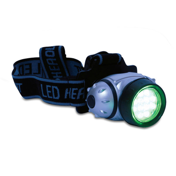 The grower's edge green eye LED headlight turned on