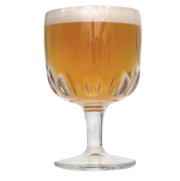 Goblet filled with Belgian Tripel homebrew