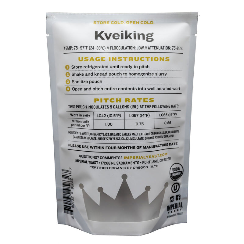 Imperial Yeast A44 Kveiking pouch's back