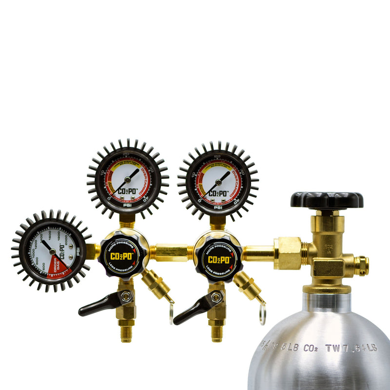 CO2PO double body regulator with pressure relief valve