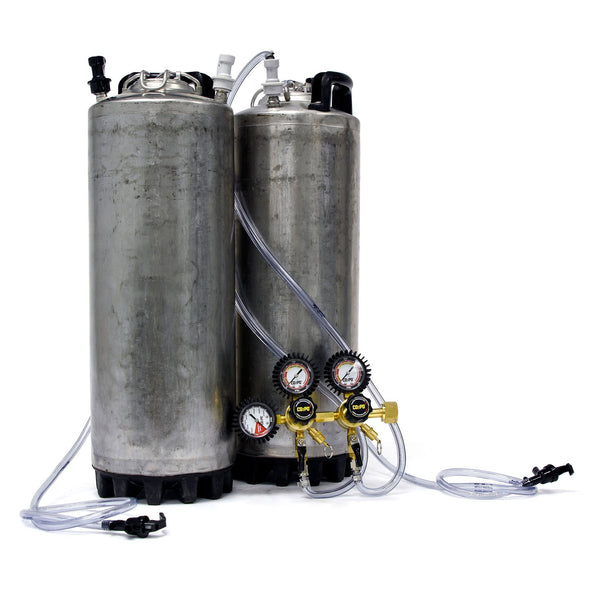 Dual Home Brew Keg System, which is Reconditioned Ball Lock Corny Kegs attached to a Double Body Regulator