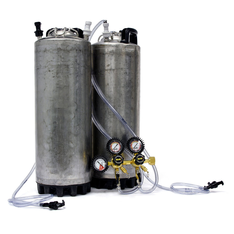 Dual Home Brew Keg System - Reconditioned Ball Lock Corny Keg w/ Double Body Regulator