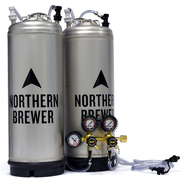 Two corny ball lock kegs hooked up to a two-pressure regulator