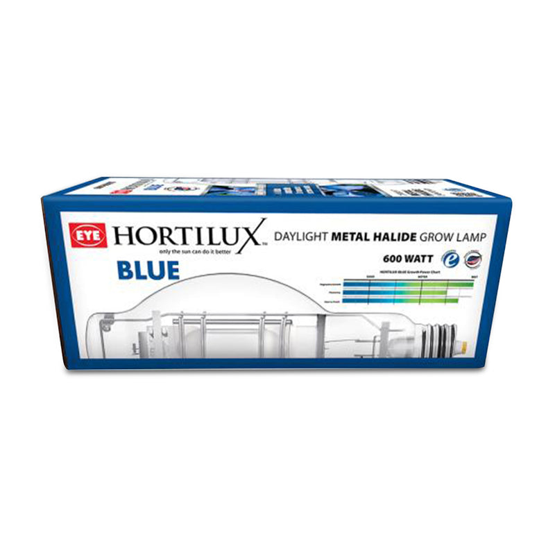 600 Watt mh hortilux blue's packaging resting horizontally