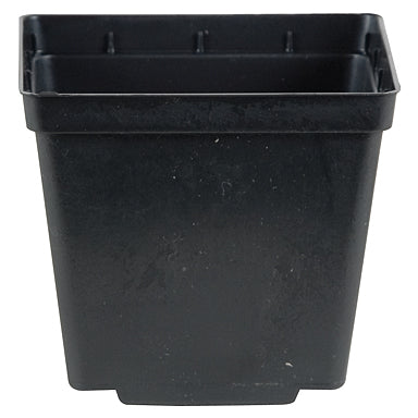 4-inch square black plastic nursery pot