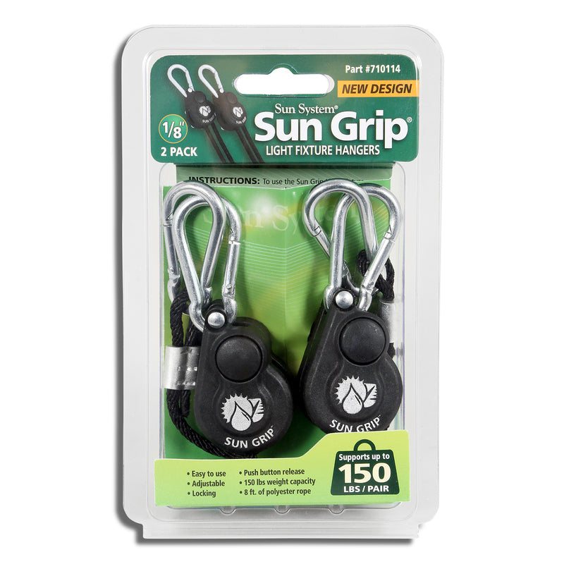 A pair of Sun Grip Push Button Light Hangers in their packaging