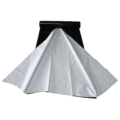 ten foot by ten food black and white poly sheet