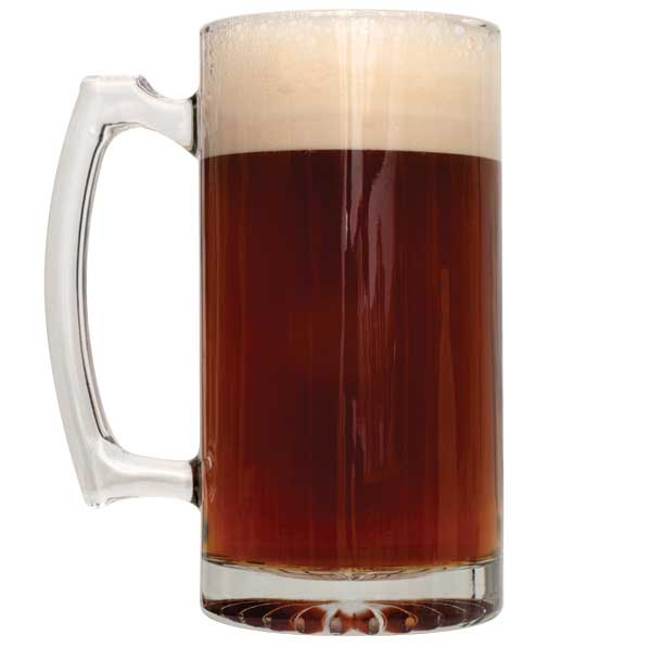 Caribou Slobber Brown Ale homebrew in a tall mug