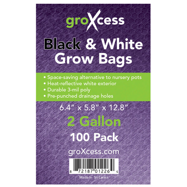 Label for the 2-gallon Black and white grow bags