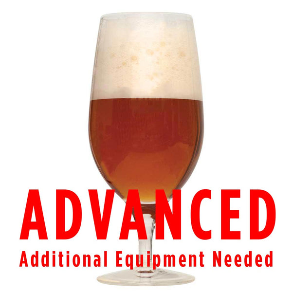 "Dawson's kriek homebrew in a glass with a customer caution in red text: ""Advanced, additional equipment needed"" to brew this recipe kit"