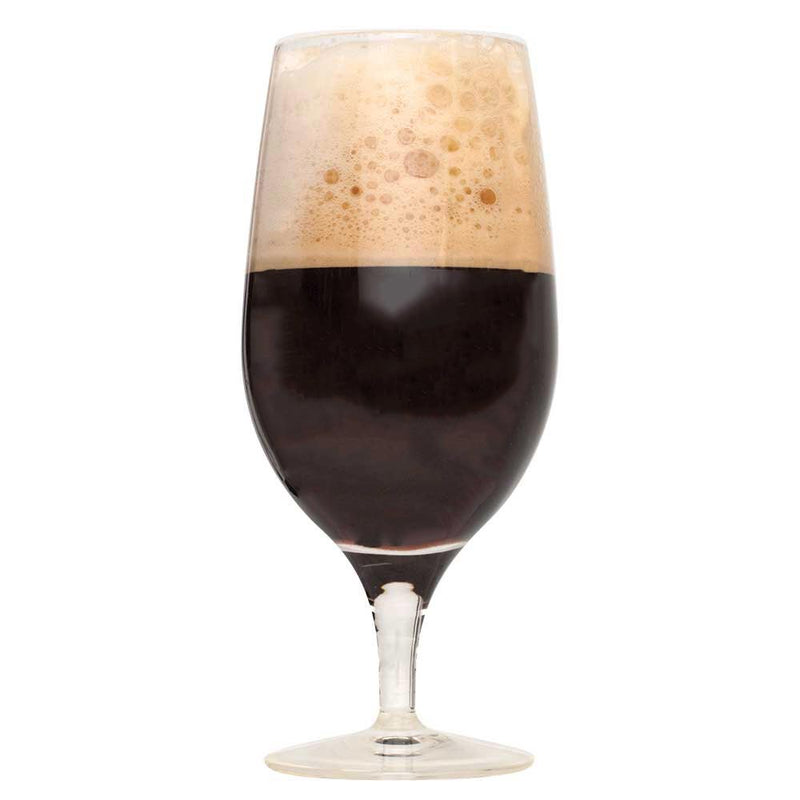 Glass filled with Brunch Stout homebrew