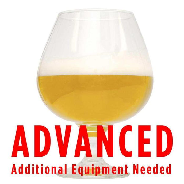 "Duck Duck Gose homebrew in a glass with a customer caution in red text: ""Advanced, additional equipment needed"" to brew this recipe kit"