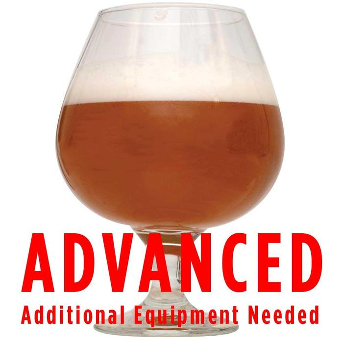 "Shugga High Barleywine in a glass with a customer caution in red text: ""Advanced, additional equipment needed"" to brew this recipe kit"