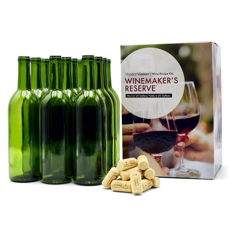 Complete Wine Recipe Kit Set w/ Bottles & Corks