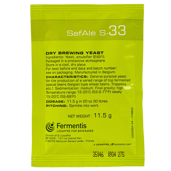 SafAle S-33 Ale Dry Yeast sachet