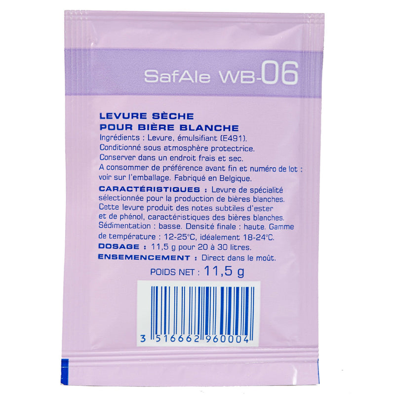 safale wb-06 yeast sachet's back