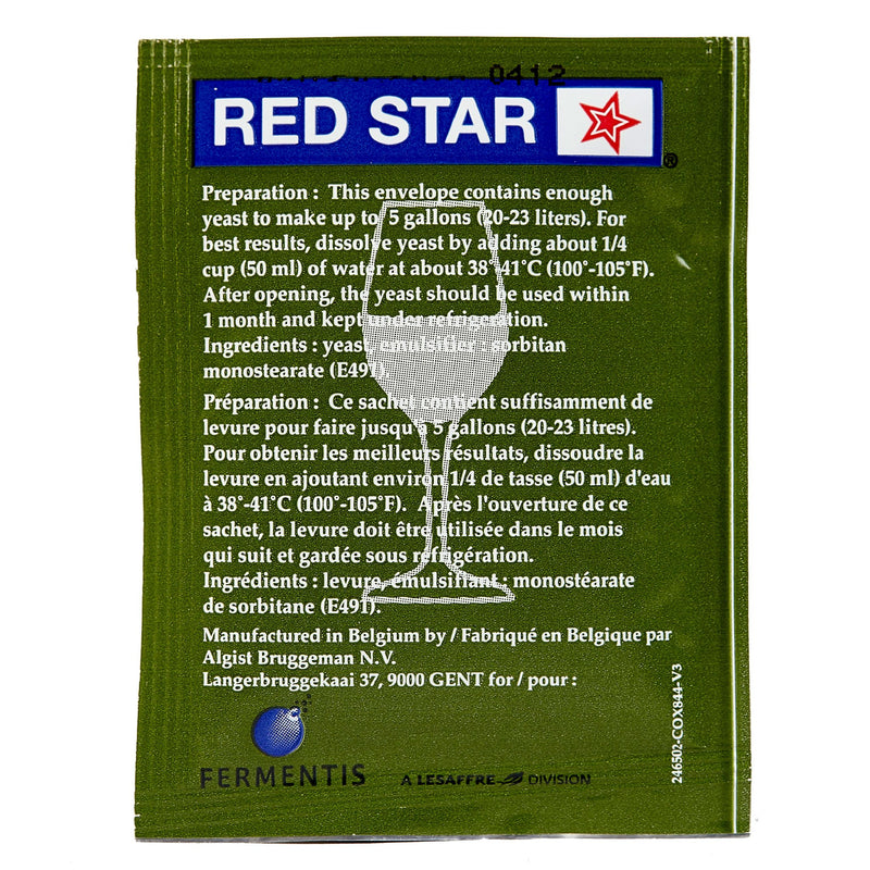red star cote des blancs yeast sachet's back