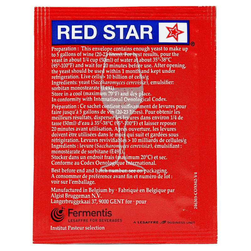 red star premier rouge yeast back