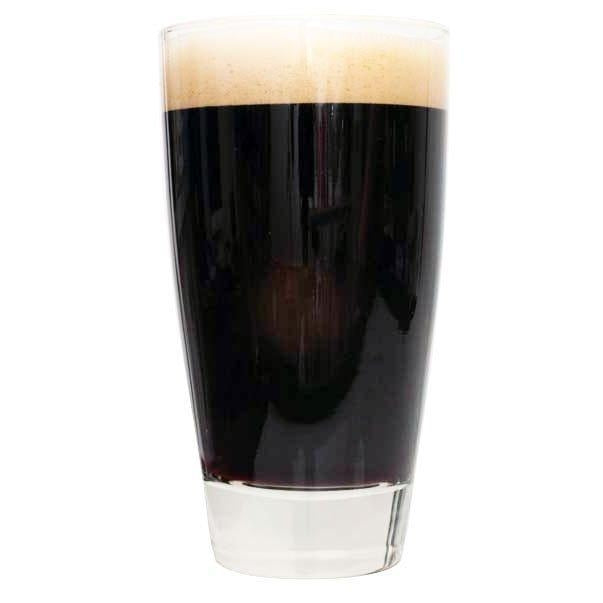 A tall glass of Ace of Spades Black IPA homebrew