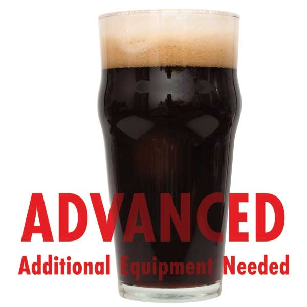 "Oatmeal Stout homebrew in a glass with a customer caution in red text: ""Advanced, additional equipment needed"" to brew this recipe kit"