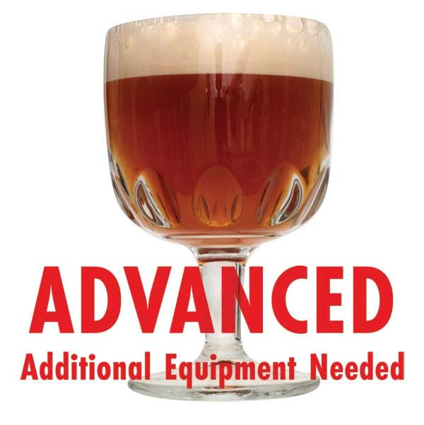 "Storm the Bastille Imperial Farmhouse Ale homebrew in a goblet with a customer caution in red text: ""Advanced, additional equipment needed"" to brew this recipe kit"