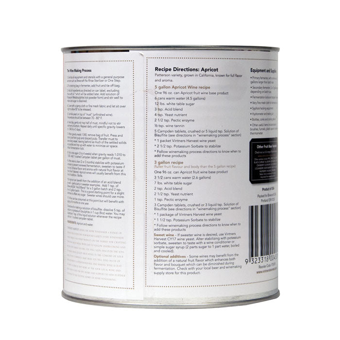 Back-view of the can of Vintner's Harvest apricot Fruit Base