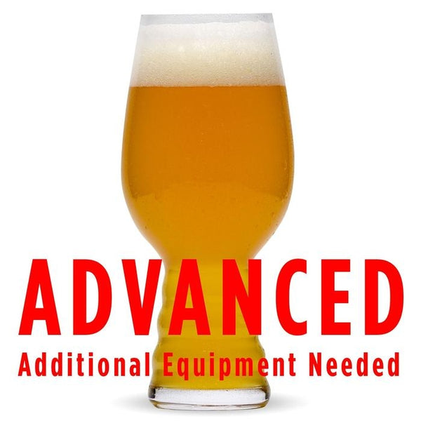 "Fruit Bazooka New England IPA homebrew in a glass with a customer caution in red text: ""Advanced, additional equipment needed"" to brew this recipe kit"