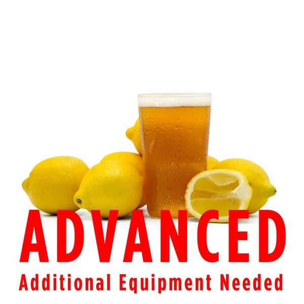 "Summer Squeeze Lemon Shandy All Grain homebrew in a drinking glass surrounded by lemons with a customer caution in red text: ""Advanced, additional equipment needed"" to brew this recipe kit"