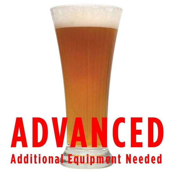"Danube Driftin' Vienna Lager in a glass with a customer caution in red text: ""Advanced, additional equipment needed"" to brew this recipe kit"