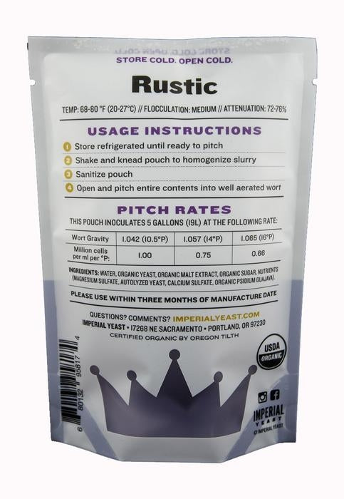 Imperial Yeast B56 Rustic IYB56 back