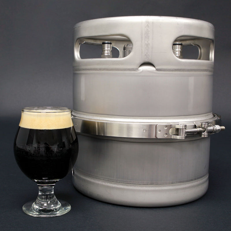 Big Mouth™ Modular Mini-Keg with a glass of stout homebrew adjacent