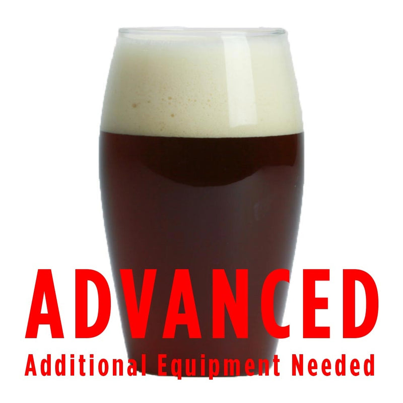 "Elegant Bastard American Strong Ale homebrew in a glass with a customer caution in red text: ""Advanced, additional equipment needed"" to brew this recipe kit"