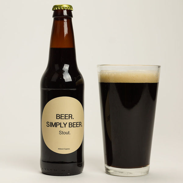 Beer. Simply Beer stout in a glass beside its labeled bottle
