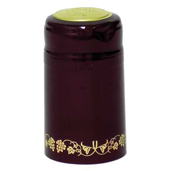 Burgundy with Gold Grapes PVC Capsules