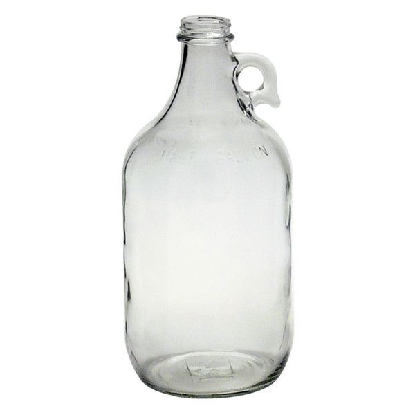Clear flint half-gallon glass growler
