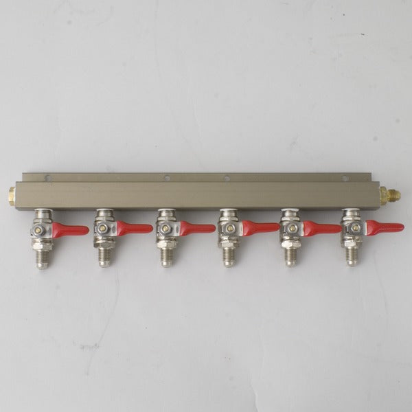 CO2 6-Way Distributor with 1/4-inch MFL shutoffs