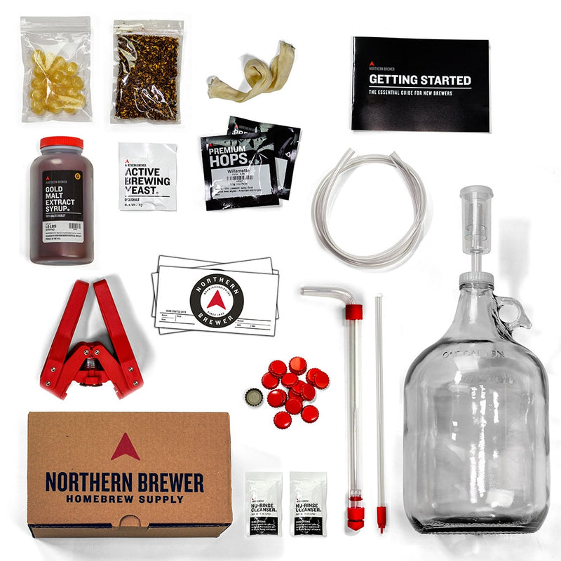1-gallon Craft Beer Making Kit's assorted contents