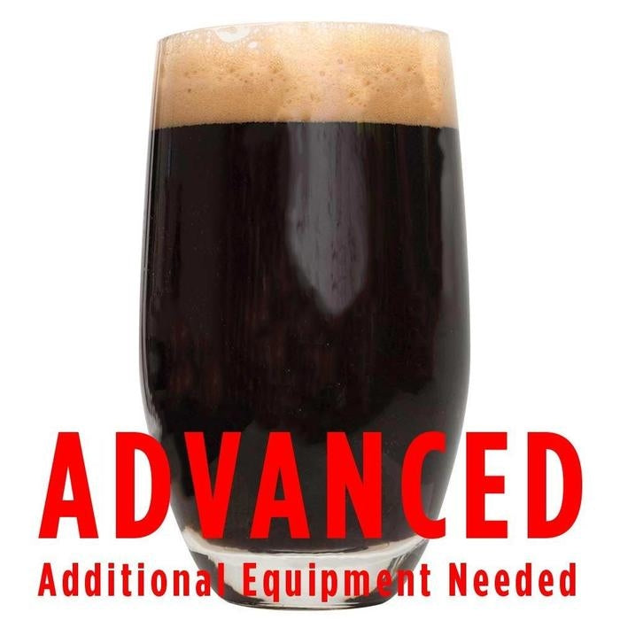 "Dragon's Silk Imperial Stout homebrew in a glass with a customer caution in red text: ""Advanced, additional equipment needed"" to brew this recipe kit"