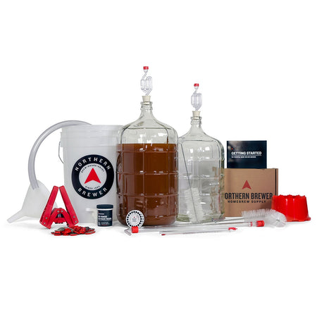 Deluxe Homebrewing Starter Kit with wort in the fermenter