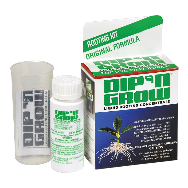 Dip'n Grow Liquid rooting concentrate in a 2-ounce container beside a measuring container and its packaging