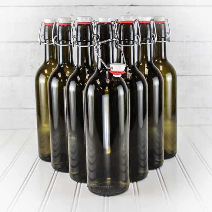750ml Antique Green E.Z. Cap Wine Bottles