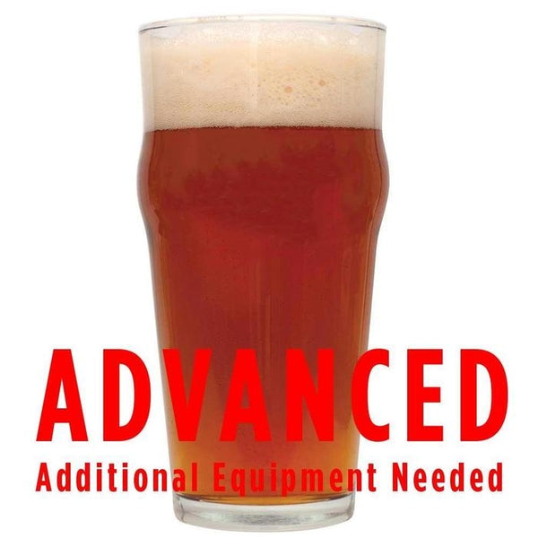 "Ferocious IPA in a glass with a customer caution in red text: ""Advanced, additional equipment needed"" to brew this recipe kit"