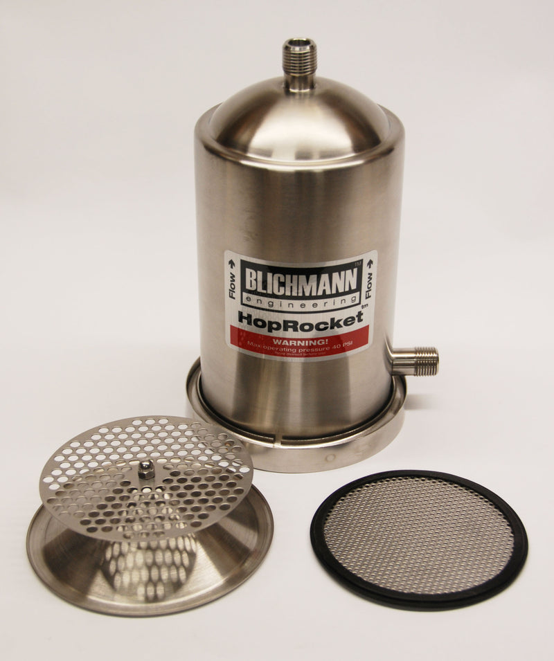 Blichmann HopRocket with false bottom and grate on display
