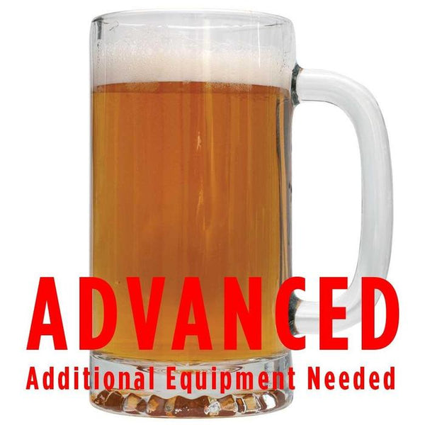 "Precipice Pale Ale in a mug with a customer caution in red text: ""Advanced, additional equipment needed"" to brew this recipe kit"