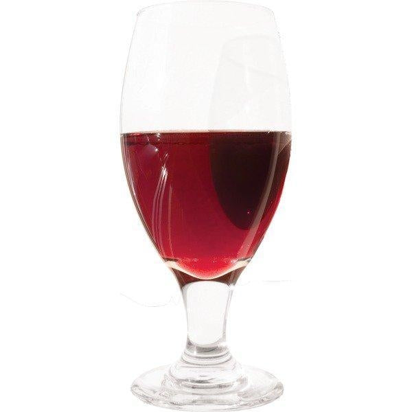 A glass filled with blackberry melomel